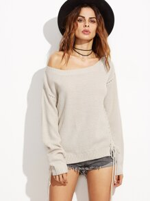 Apricot Eyelet Drop Shoulder Lace Up Side Sweater