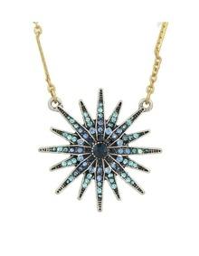 Blue Snowflake Shape Pendant Necklace