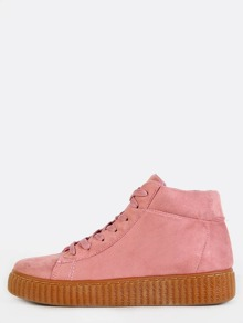 Gum Sole Flatform High Top Sneakers PINK