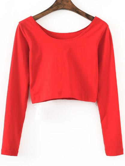 Red Long Sleeve Crop T-Shirt tee160829201