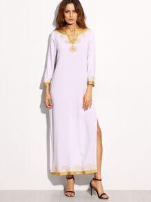 White V Neck Embroidered Tape Detail Split Long Dress