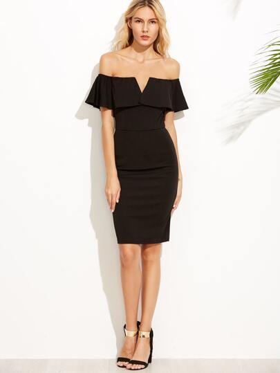 Black V Notch Off The Shoulder Pencil Dress
