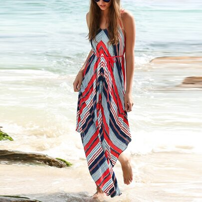Multicolor Stripe Dual Strapes Backless Maxi Dress