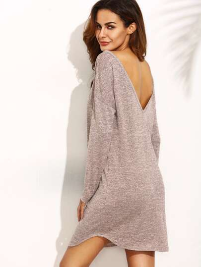 Low V Back Dropped Shoulder Slub Dress