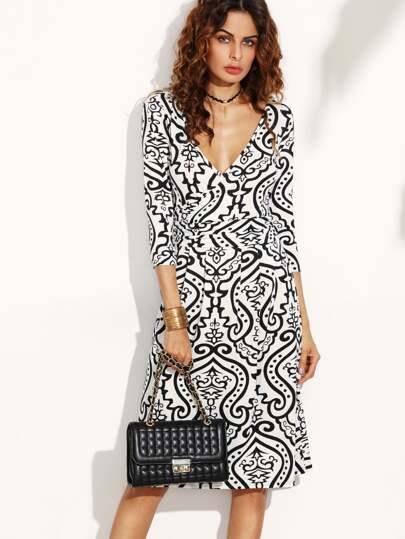 Double V Neck Vintage Print Wrap Dress
