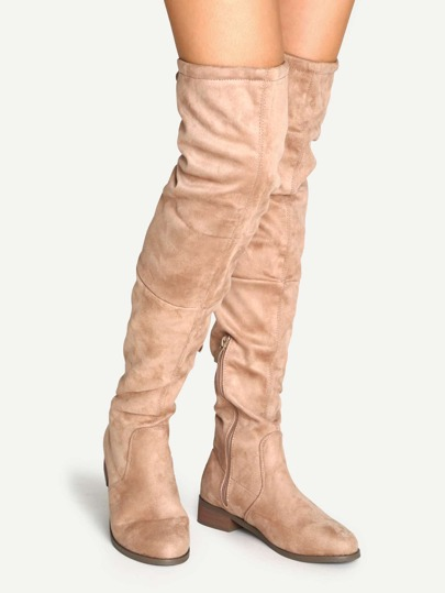 Apricot Suede Over The Knee Zipper Boots
