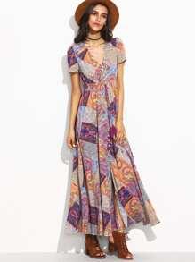 Vintage Print V Neck Drawstring Button Front Dress