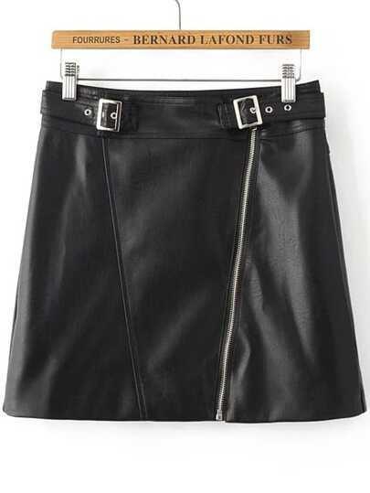 Black Oblique Zipper PU Skirt With Buckle