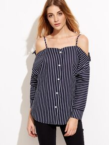 Navy Striped Cold Shoulder Button Front Top