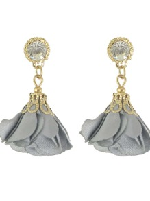 Gray Women Jewelry Flower Drop Earrings