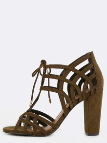 Suede Lattice Cut Out Chunky Heels OLIVE
