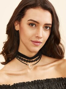 Black Layered Alloy Pendant Lace Choker Necklace