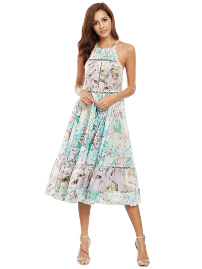 Halter Neck Floral Print Hollow Ruffle Hem Dress