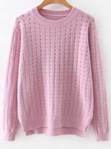 PinkHollowOutDipHemSweater