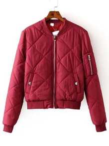 Red Zipper Up Quilted Padded Bomber Jacket