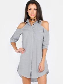 Cold Shoulder Stripe Shirt Dress BLACK