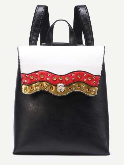 Black Studded Color Block Flap Backpack
