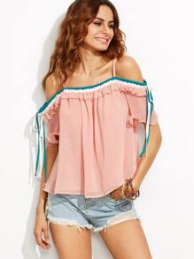 Pink Cold Shoulder Ruffle Blouse