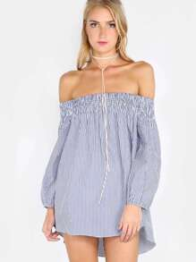 Bardot Ruched Stripe Top BLUE