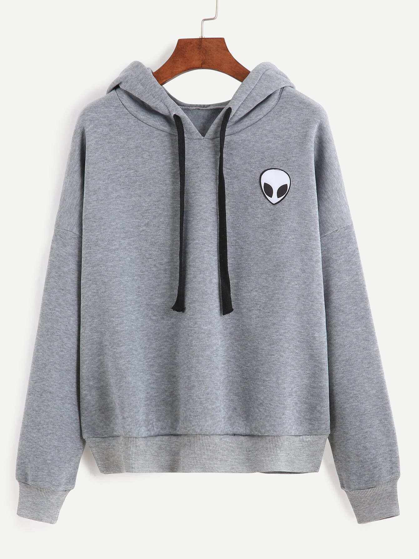 Alien Print Hooded Sweatshirt -SheIn(Sheinside)
