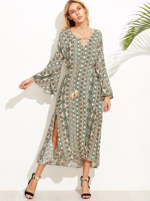 Tribal Print V Neck Bell Sleeve Slit Side Dress With Belt