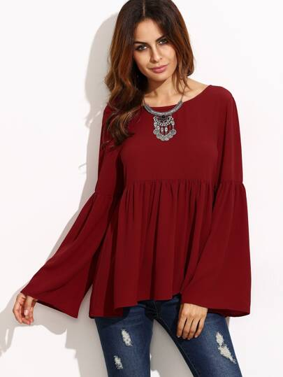 Bell Sleeve Cutout Back Babydoll Blouse