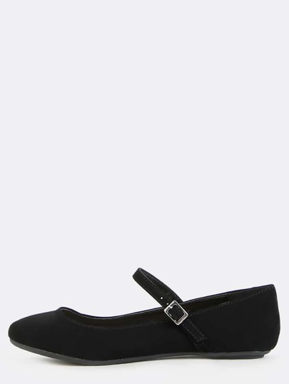 Round Toe Mary Jane Flats BLACK