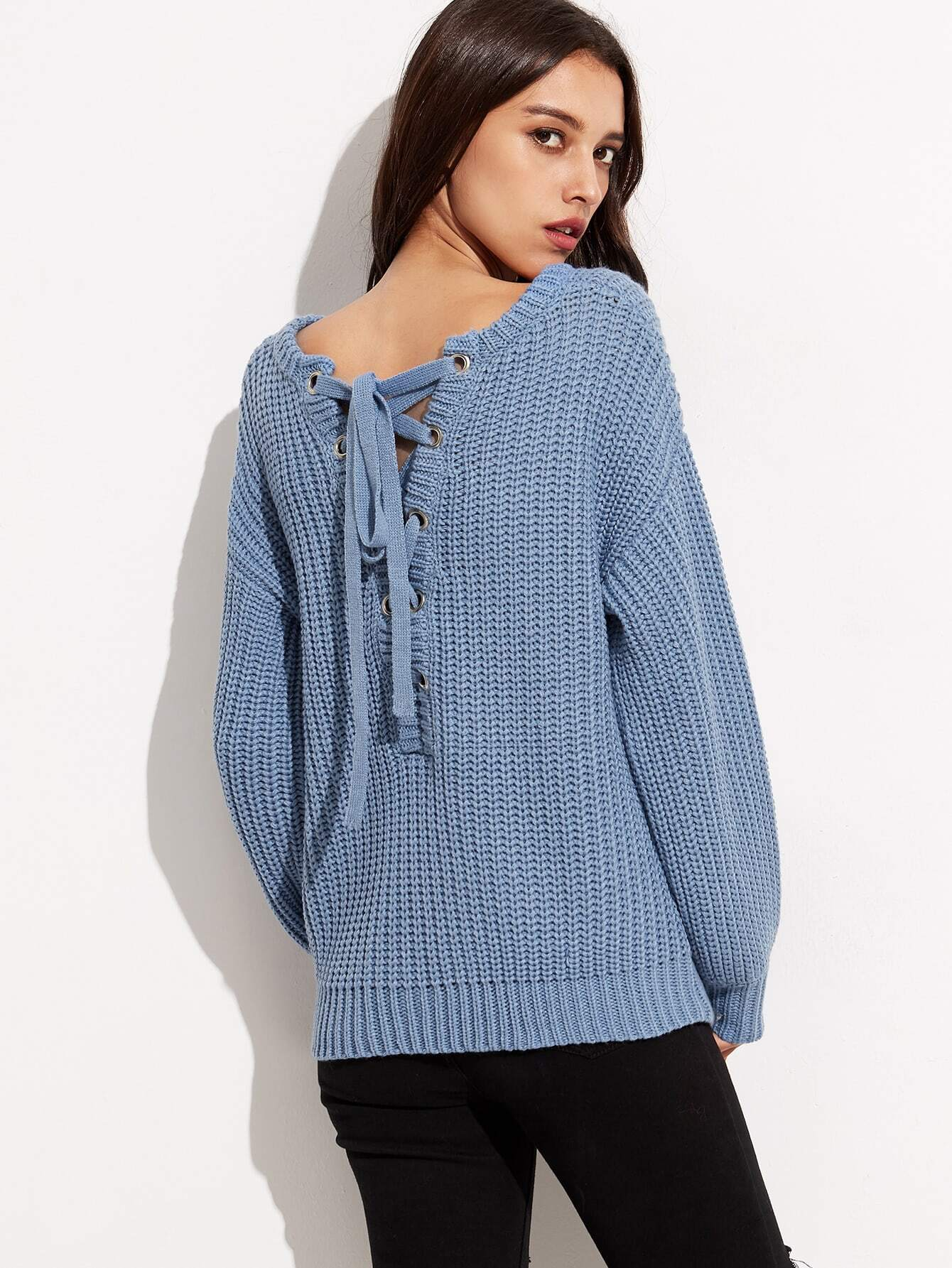 Blue Drop Shoulder Eyelet Lace Up Back Chunky Knit Sweater ...
