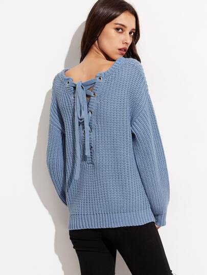 Blue Drop Shoulder Eyelet Lace Up Back Chunky Knit Sweater