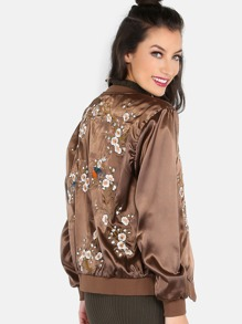 Orchid Embellished Satin Bomber Jacket COFFEE