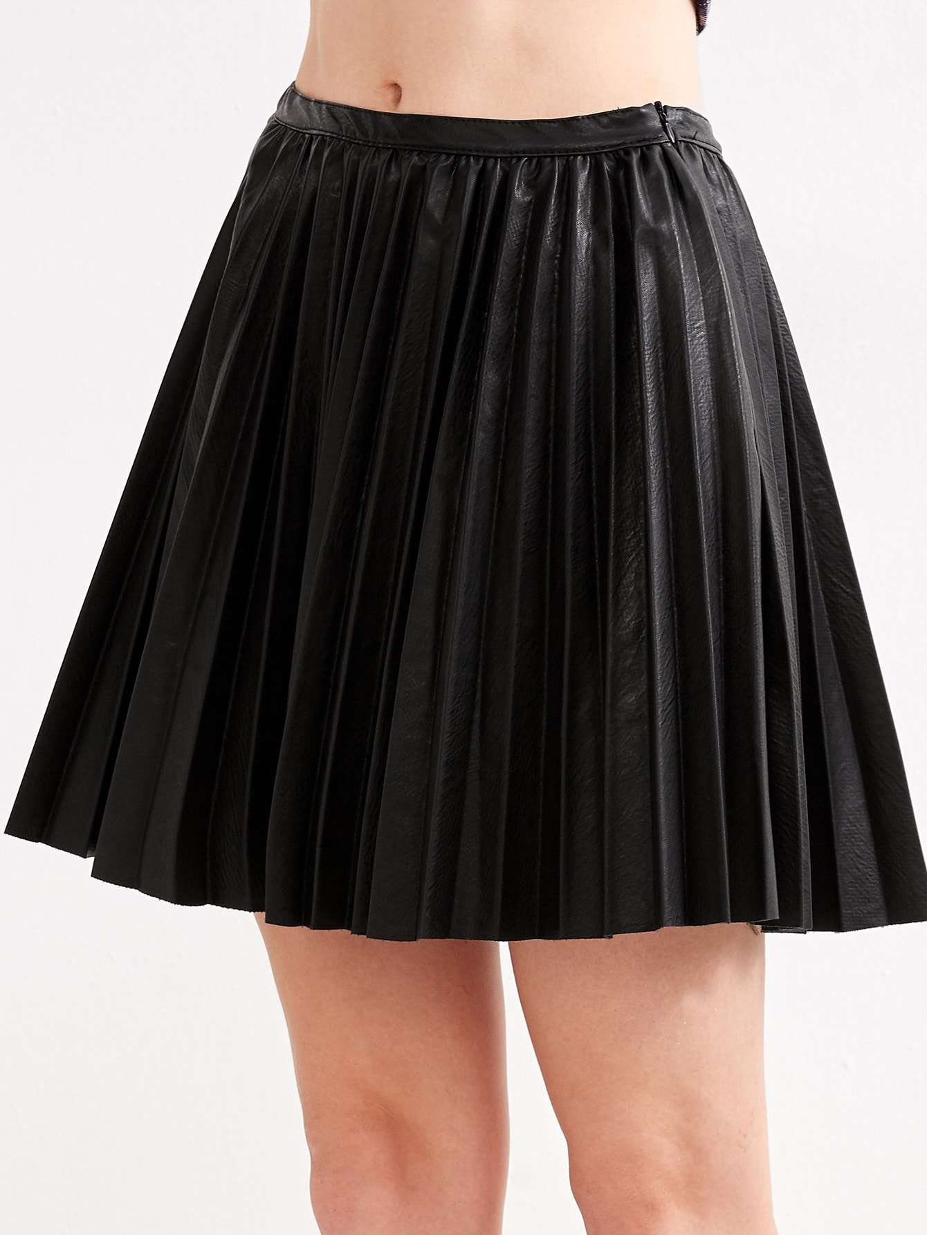 black faux leather pleated skirt shein sheinside
