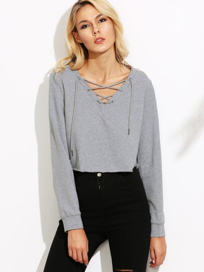 Heather Grey Lace Up V Neck Crop Sweatshirt