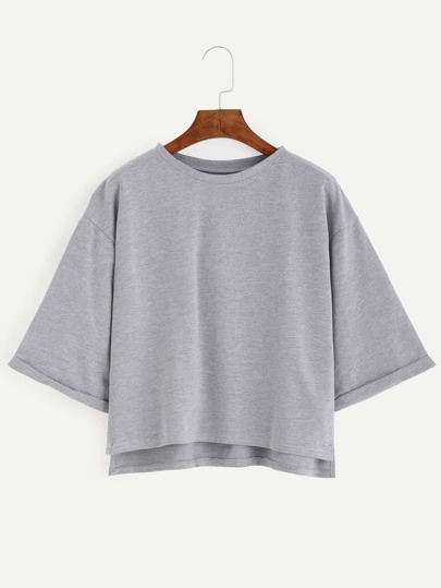 Grey Dip Hem Cuffed Sleeve T-shirt