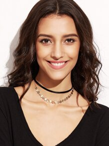 Black Double Layer Metal Coin Choker Necklace