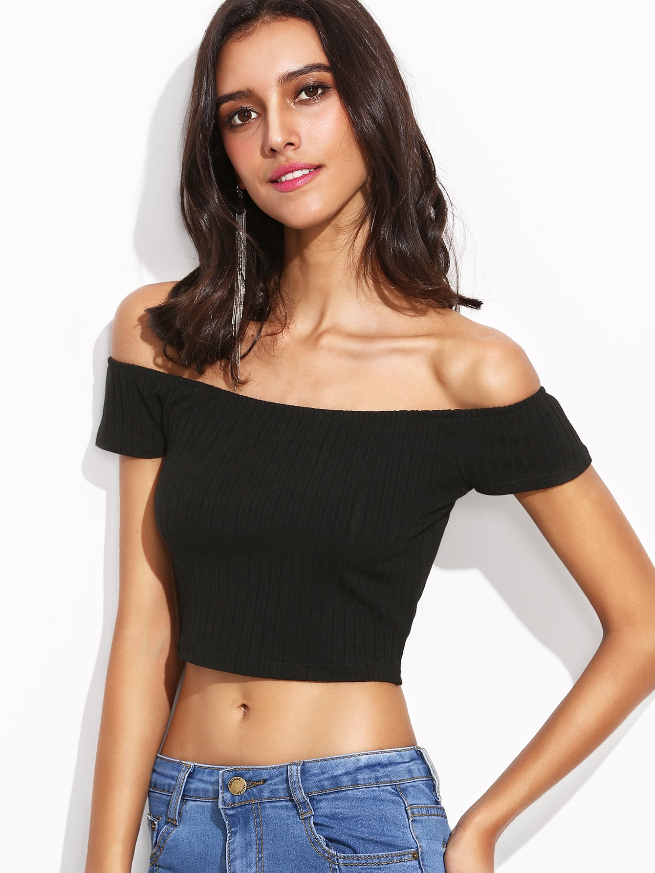 Black Off The Shoulder Ribbed Crop T-shirt tee160808105
