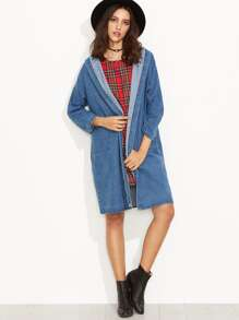 Blue Drop Shoulder Hooded Denim Long Coat