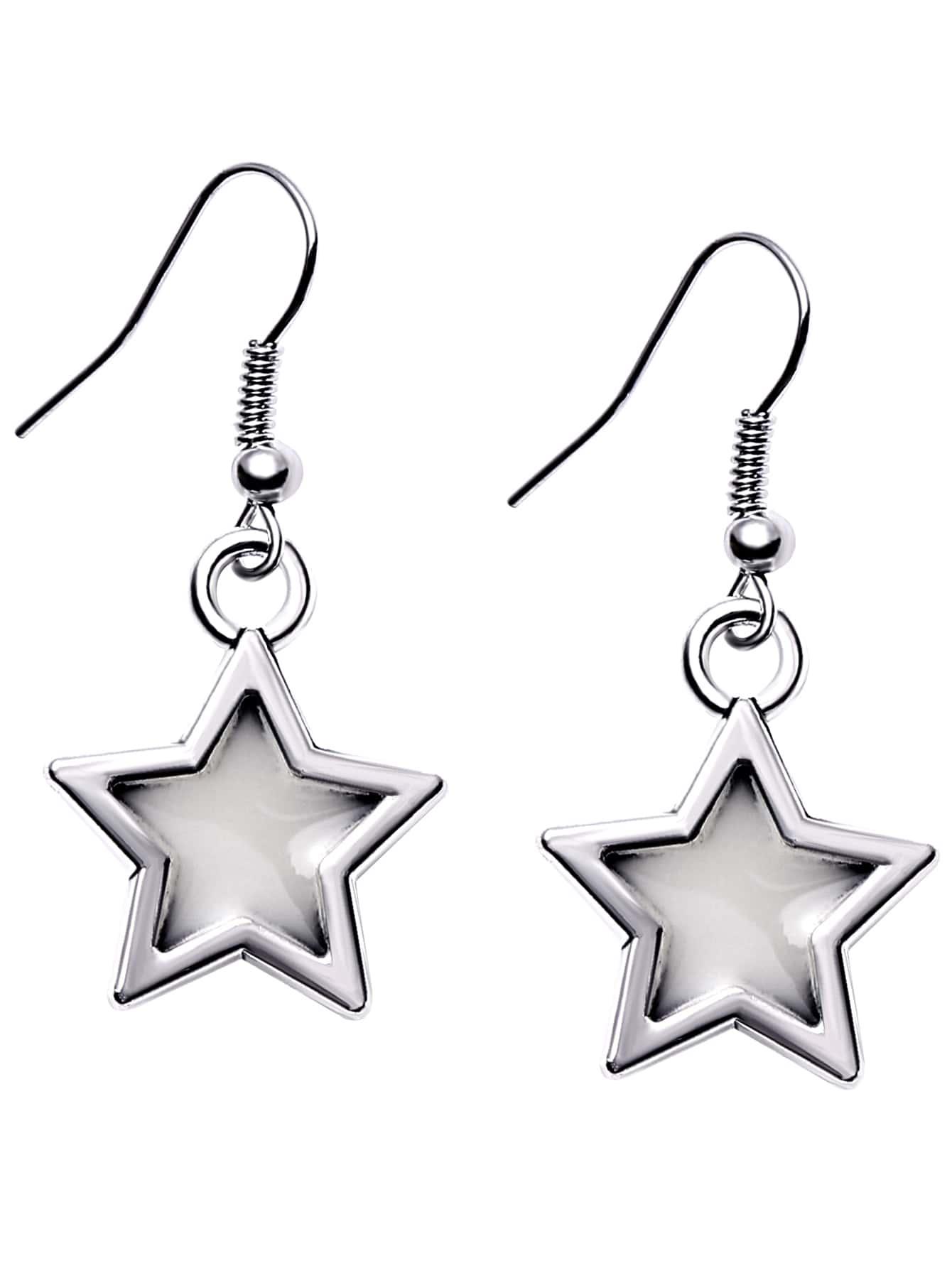 Silver Plated Luminous Star Drop Earrings