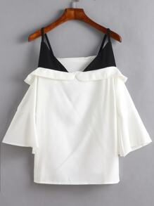 White Bell Sleeve Contrast Cold Shoulder Blouse