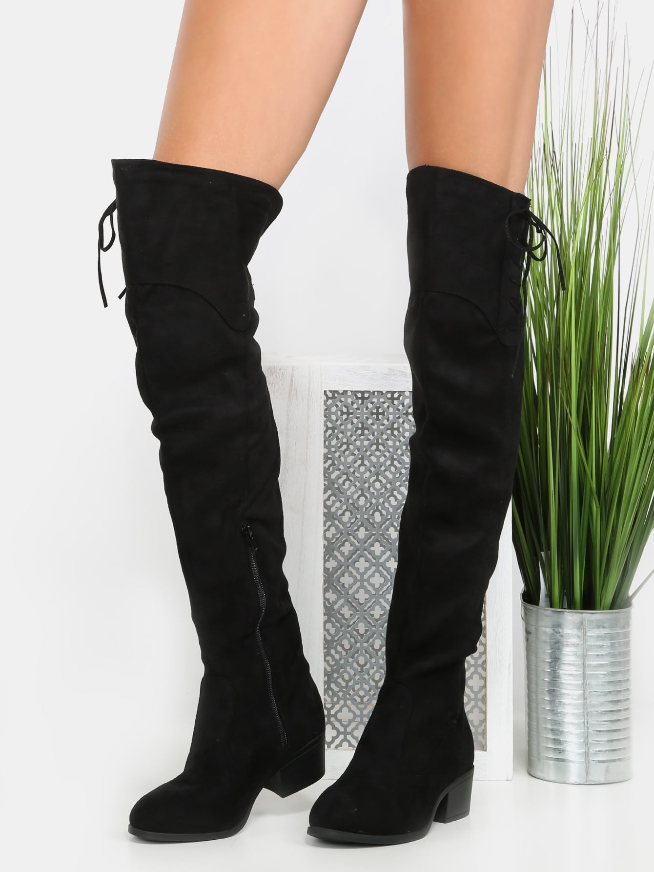 thigh high side lace boots black shein sheinside