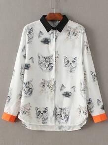 White Contrast Trim Cat Print Blouse