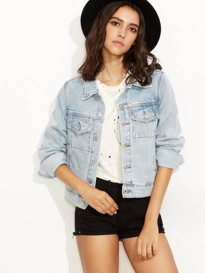 Light Blue Button Front Denim Jacket