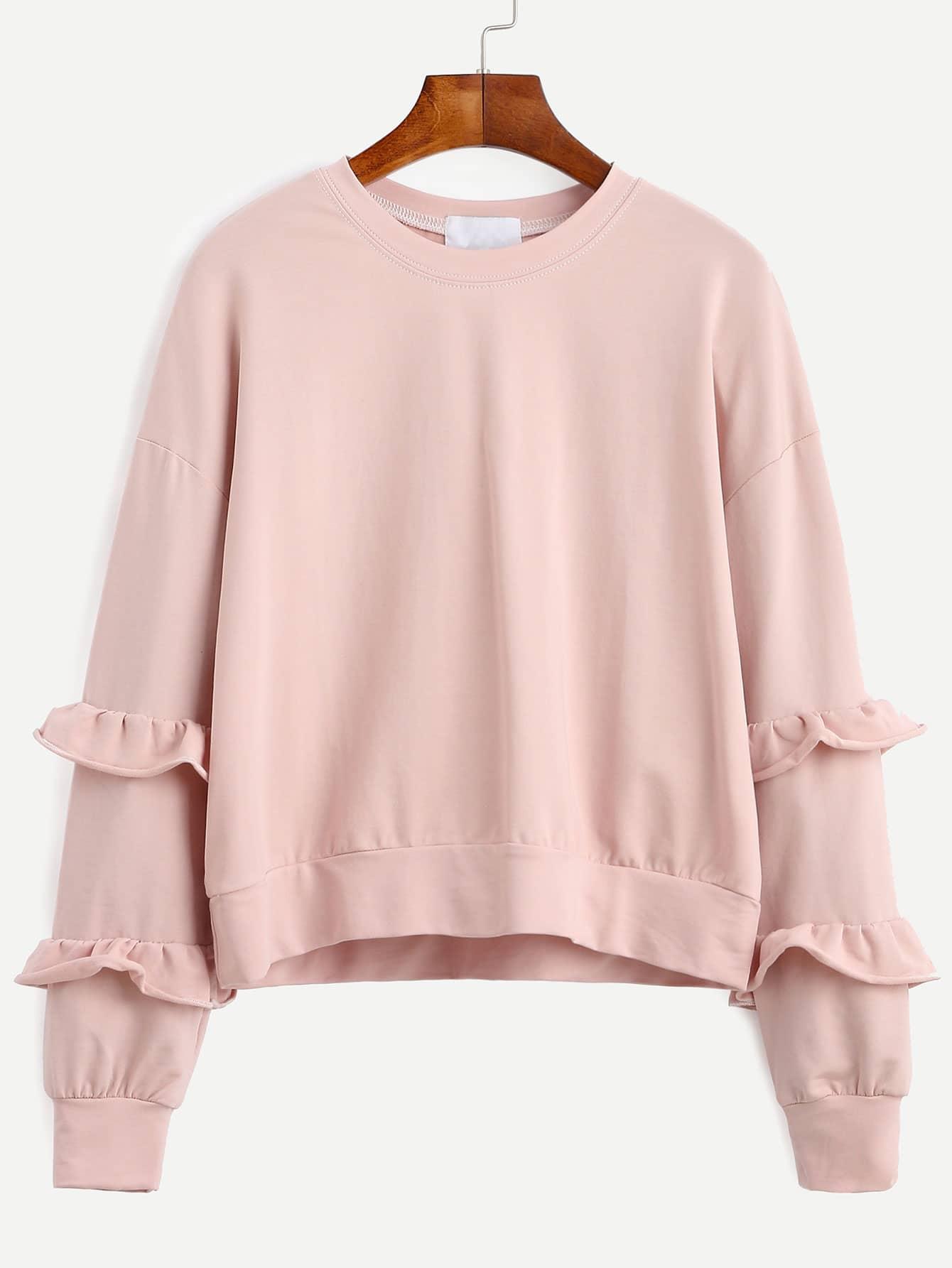 Pink Drop Shoulder Ruffle Trim Sweatshirt sweatshirt160815021