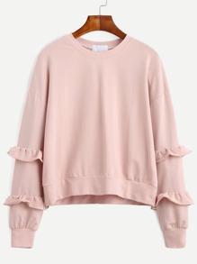 Розовый модный свитшот с воланами