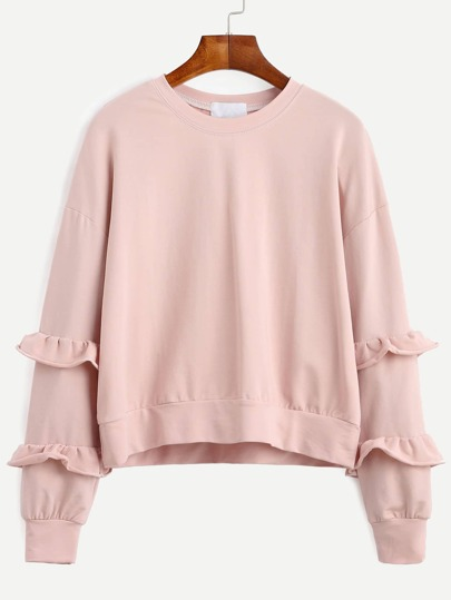 Pink Drop Shoulder Ruffle Trim Sweatshirt