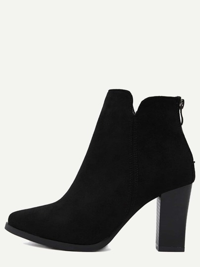 Black Suede Pointed Toe Back Zipper Ankle Boots