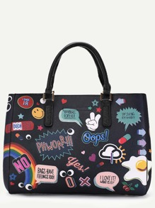 Black PU Cartoon Print Tote Bag With Clutch