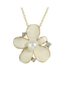 Beige Pearl Flower Necklace