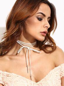Collier ras-de-cou avec nœud papillon - blanc