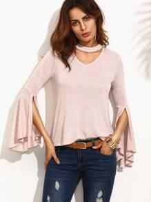 Camiseta manga larga con volantes abertura - rosa
