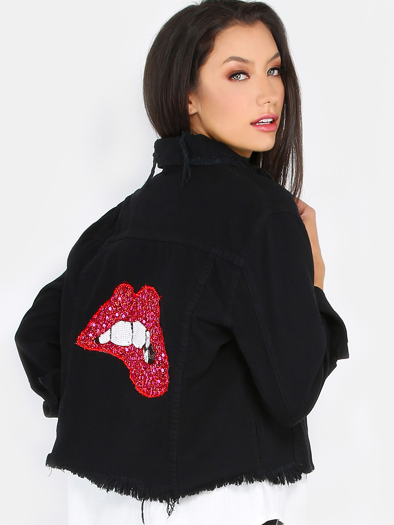 Купить со скидкой Sequins Lips Back Distressed Denim Jacket BLACK